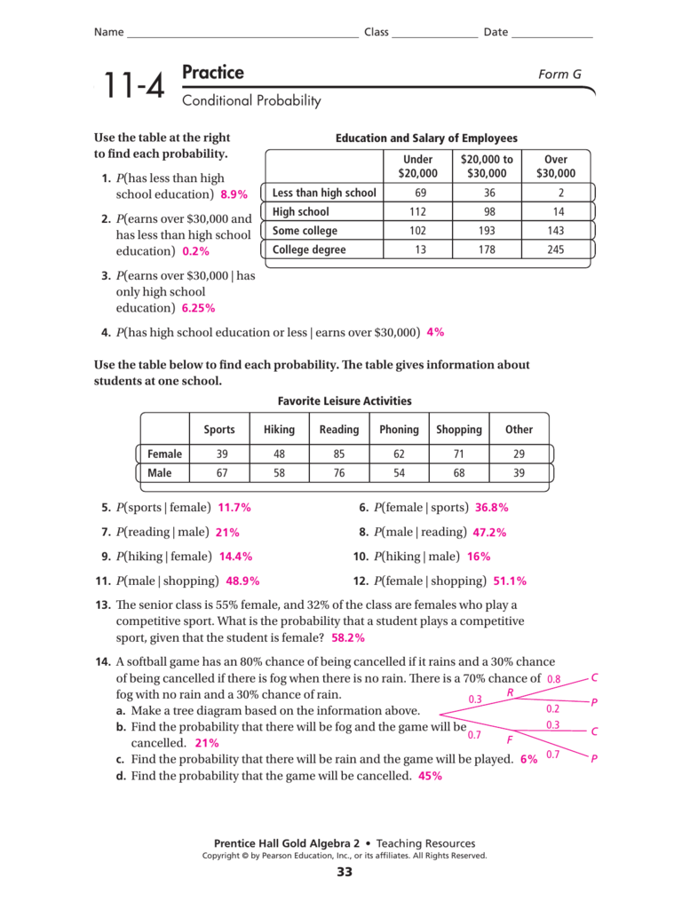 Conditional probability worksheet answers fritz