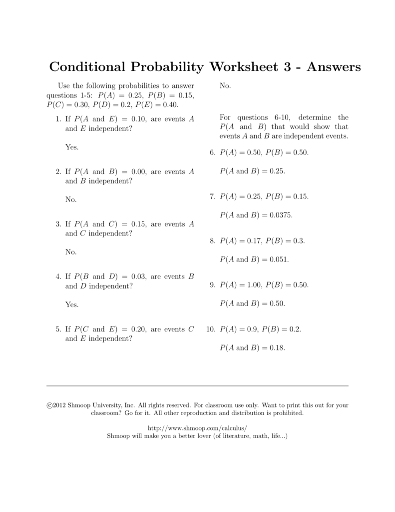 conditional probability worksheet 3 answers. Black Bedroom Furniture Sets. Home Design Ideas