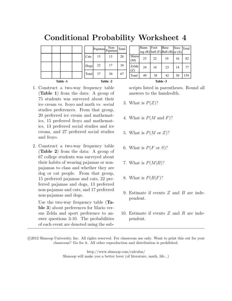 conditional probability worksheet 4. Black Bedroom Furniture Sets. Home Design Ideas