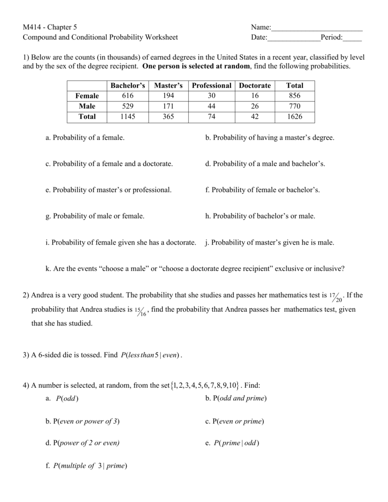 M414 - Chapter 5 Name: Compound and Conditional Probability