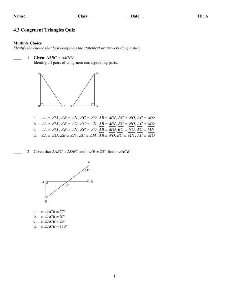 Unit 4 Congruent Triangles Test Gina Wilson 1508  Fabulous