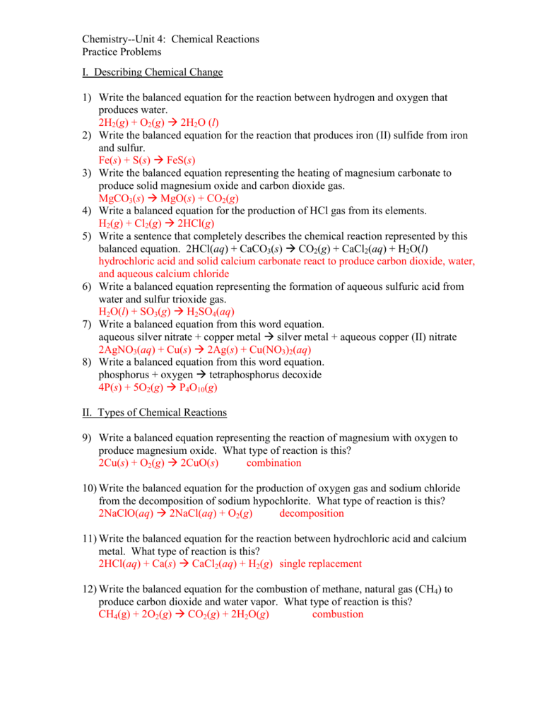 Unit 4 Practice Problems answers – Writing and Balancing Equations Worksheet