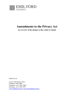 Amendments to the Privacy Act
