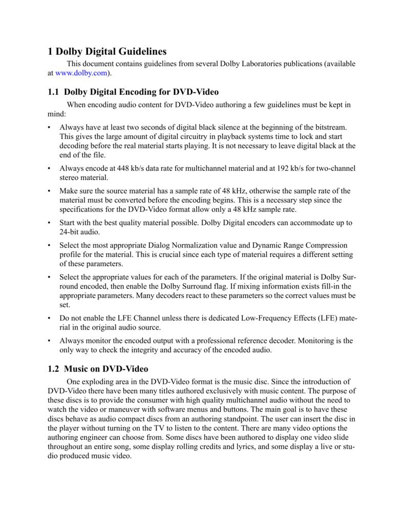 dolby digital guidelines rh studylib net