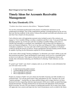 Timely Ideas for Accounts Receivable Management