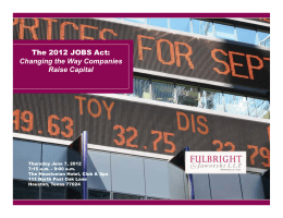 The 2012 JOBS Act: Changing The Way Companies