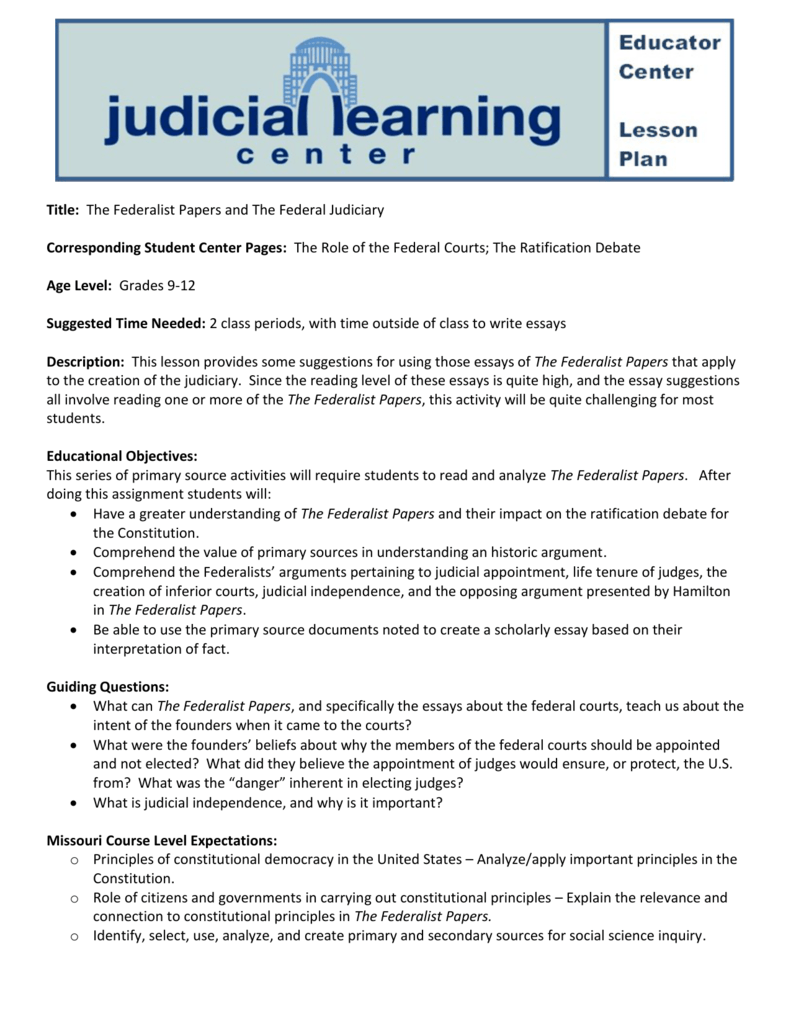 Judicial Learning Center – Lesson Plan