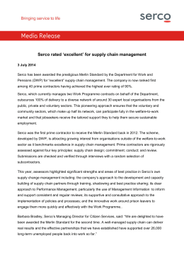 Serco rated 'excellent' for supply chain management