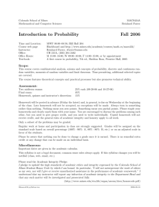 Introduction to Probability Fall 2006