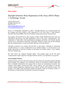 Daylight Solutions Wins Department of the Army (DOA) Phase 1