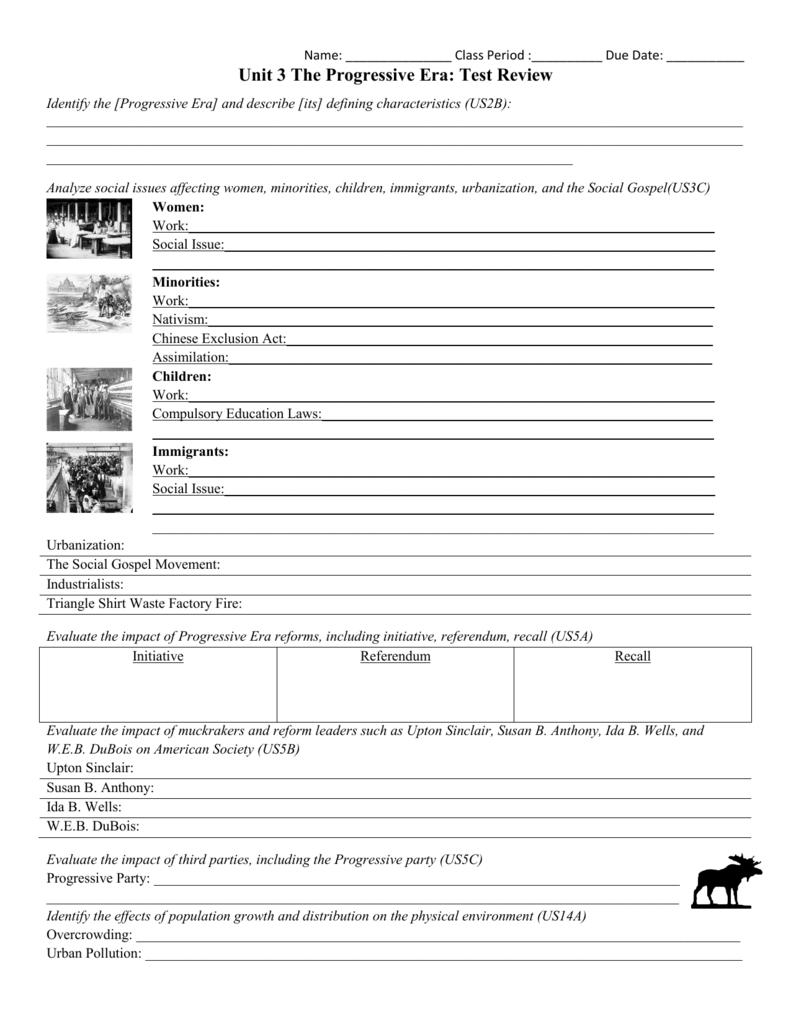 Progressive Era: Amendments & Legislation | Worksheets ... Progressive Era  Review Sheet
