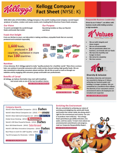 Kellogg Company Fact Sheet (NYSE: K)