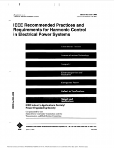 IEEE recommended practices and requirements for harmonic control