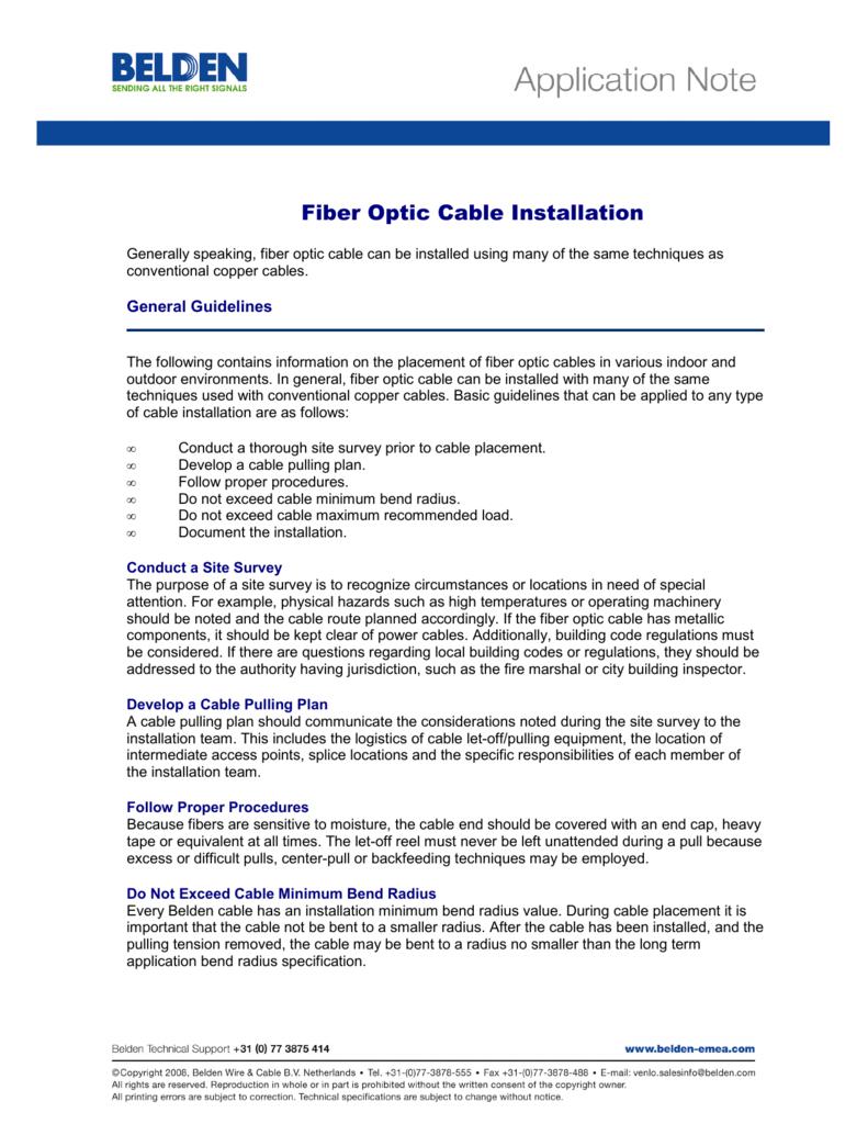 Fiber Optic Cable Installation - www.belden