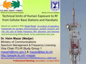 Technical limits of Human Exposure to RF from Cellular Base