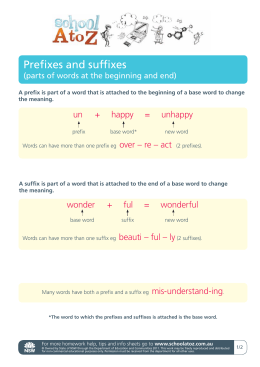 Prefixes and suffixes (parts of words at the beginning and end)