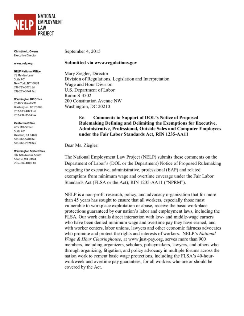 September 4, 2015 Submitted via www regulations gov Mary Ziegler