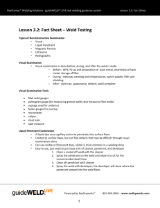 Lesson 3.2: Fact Sheet – Weld Testing