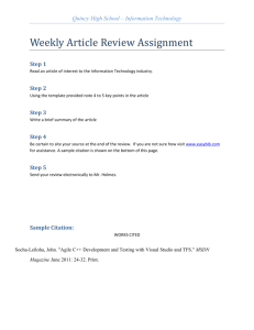 Weekly Article Review Assignment