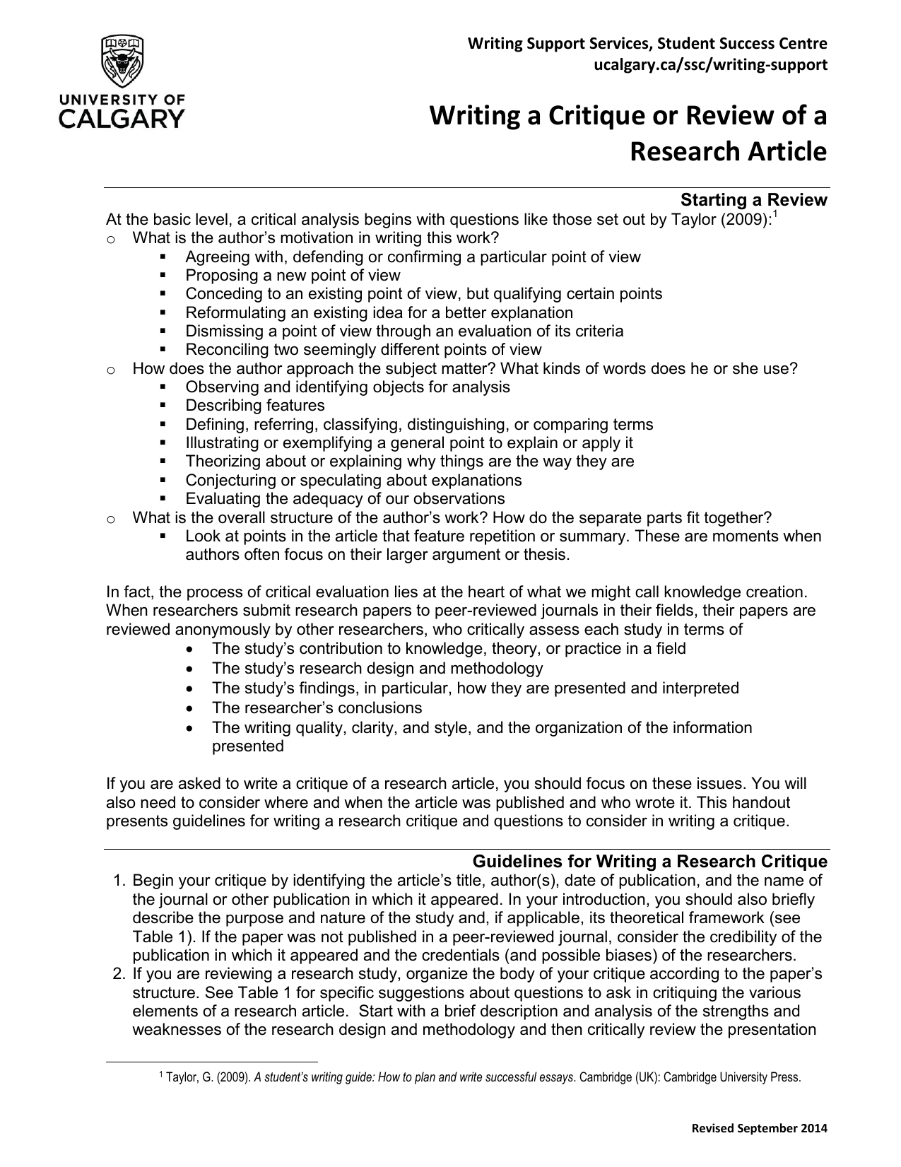 Writing a Critique or Review of a Research Article