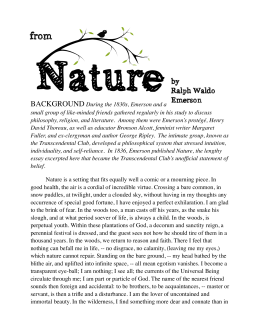 Nature By Ralph Waldo Emerson Annotated Reading Guide Nature From Nature By Rwe Good Persuasive Essay Topics For High School also Essay On My Mother In English  High School English Essay Topics