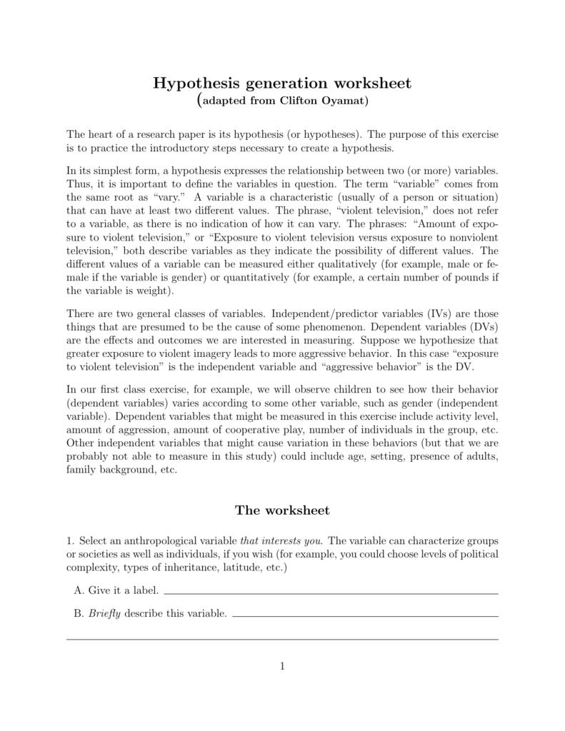 Hypothesis Generation Worksheet