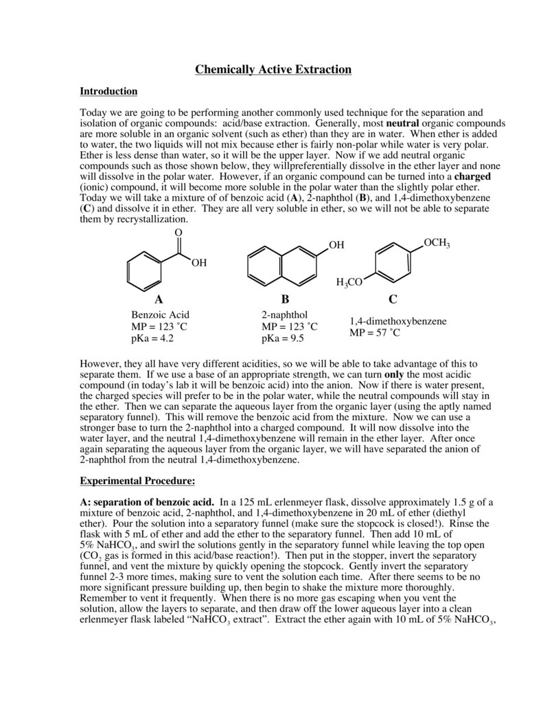 separation of an unknown mixture by acid/base extraction lab report