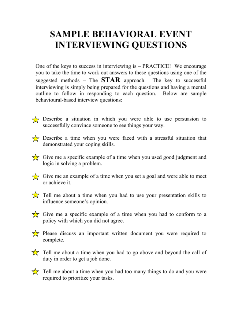 sample behavioral event interviewing questions
