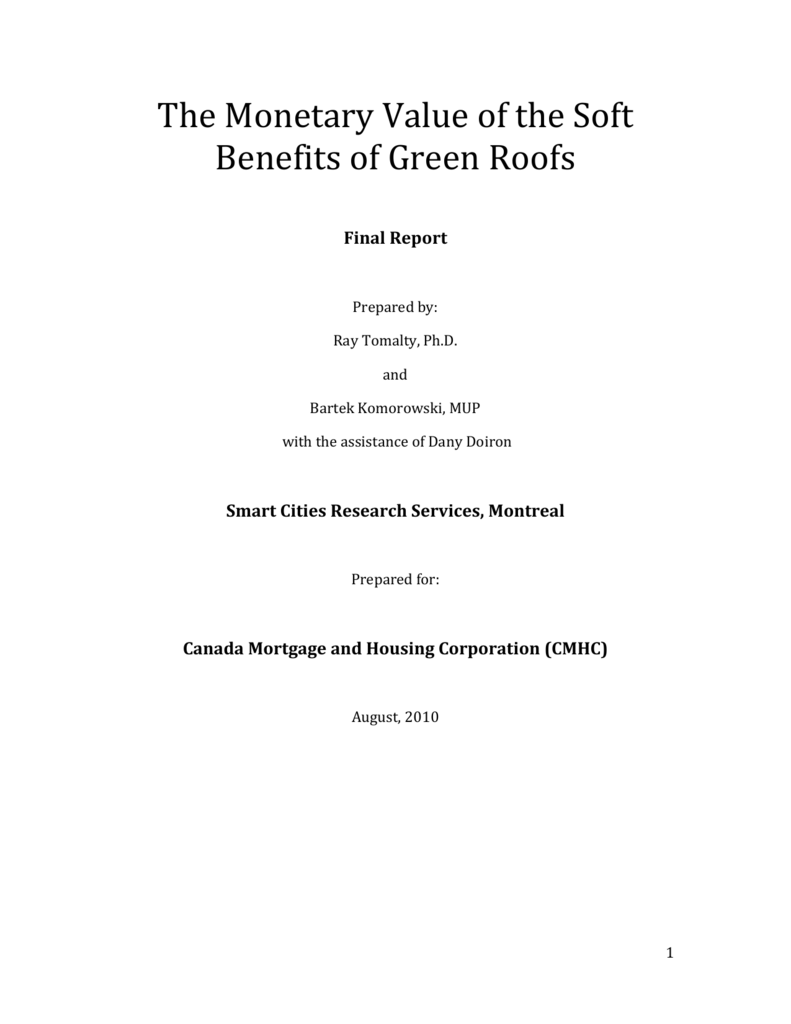 The Monetary Value of the Soft Benefits of Green Roofs