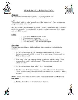 Solubility Rules Worksheet KEY