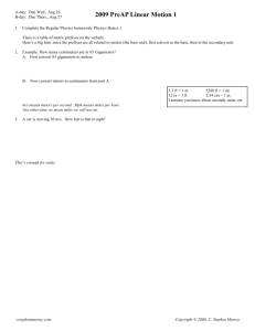2009 PreAP Linear Motion 1