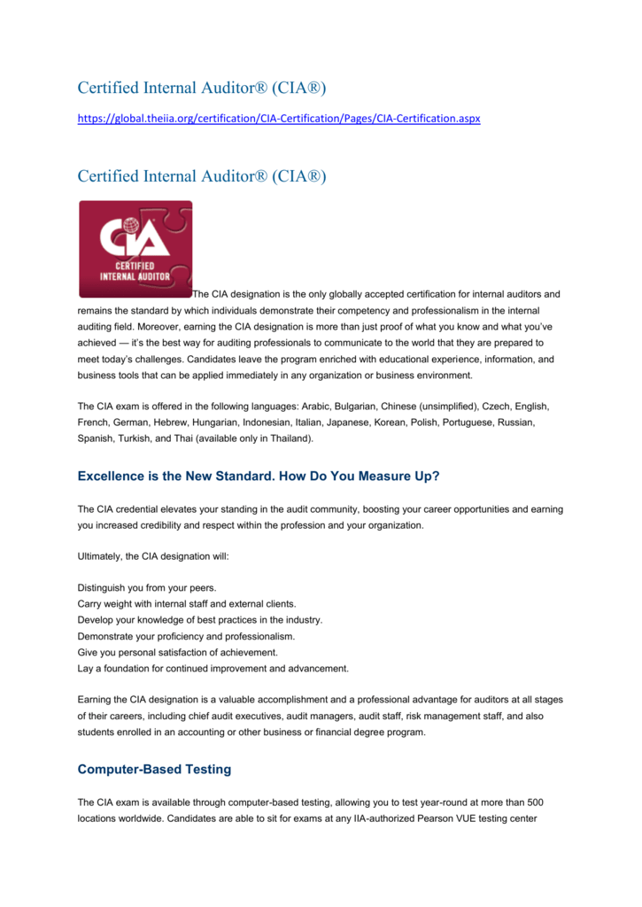 Certified Internal Auditor® (CIA®)