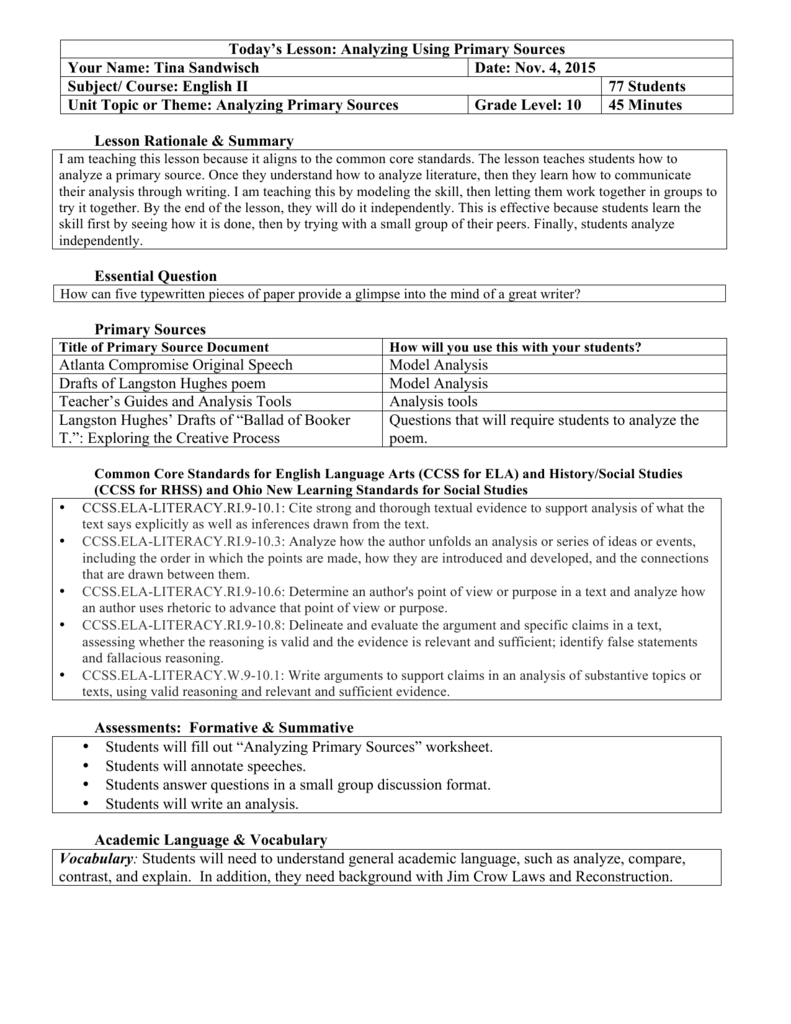 worksheet Primary Source Worksheet lesson rationale summary essential question primary sources