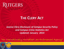 the clery act the clery act - RUPD