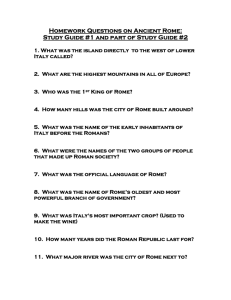 Homework Questions on Ancient Rome: