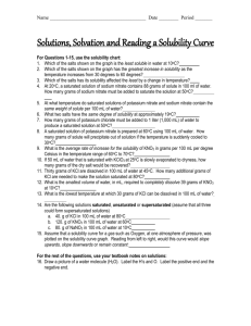 Solutions, Solvation and Reading a Solubility Curve