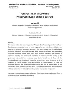 ' perspective of accounting' principles, rules, ethics & culture