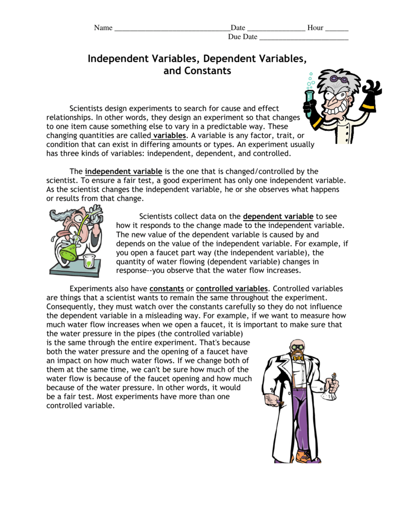 Worksheets Independent And Dependent Variables Worksheet Science independent variables dependent and constants