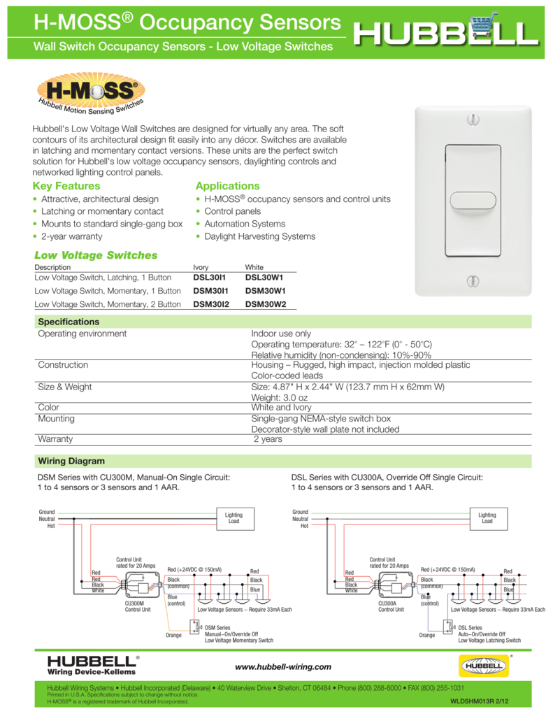 H-MOSS® Occupancy Sensors H-MoSS on