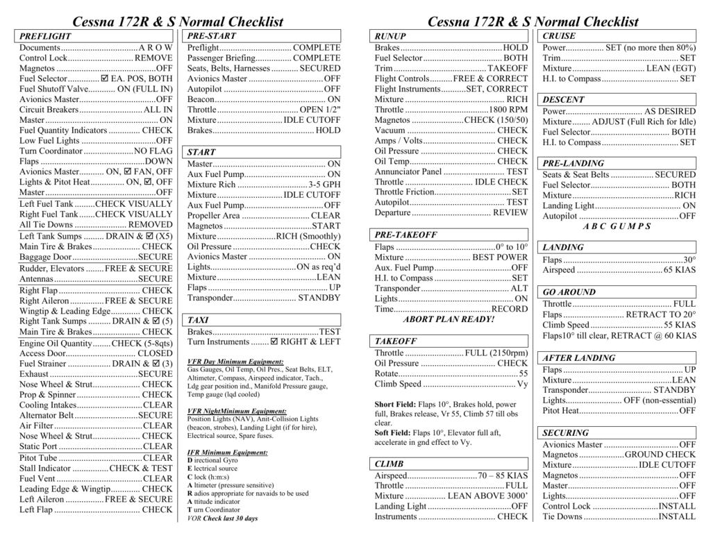 Cessna 172R & S Normal Checklist
