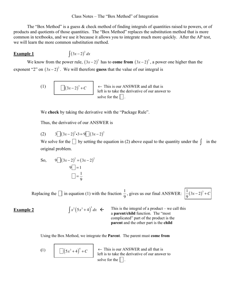 Class Notes The Box Method Of Integration The Box Method Is