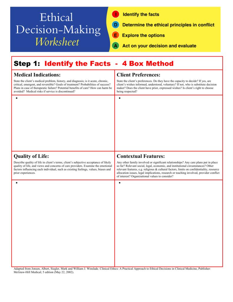Ethical Decision-Making Worksheet