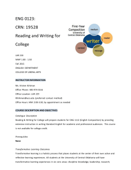 ENG 0123: CRN: 19528 Reading and Writing for College