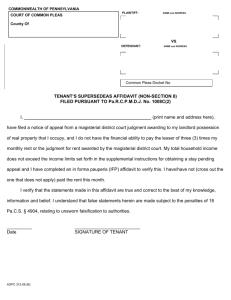 Tenant Affidavit Non Section 8 PaRCPMDJ No 1008C2