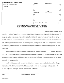 SECTION 8 TENANT'S SUPERSEDEAS AFFIDAVIT FILED