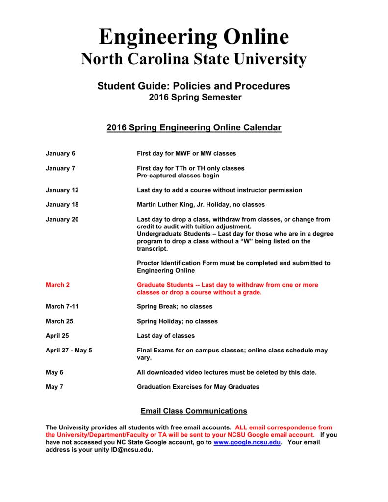 Ncsu Academic Calendar.Engineering Online North Carolina State University