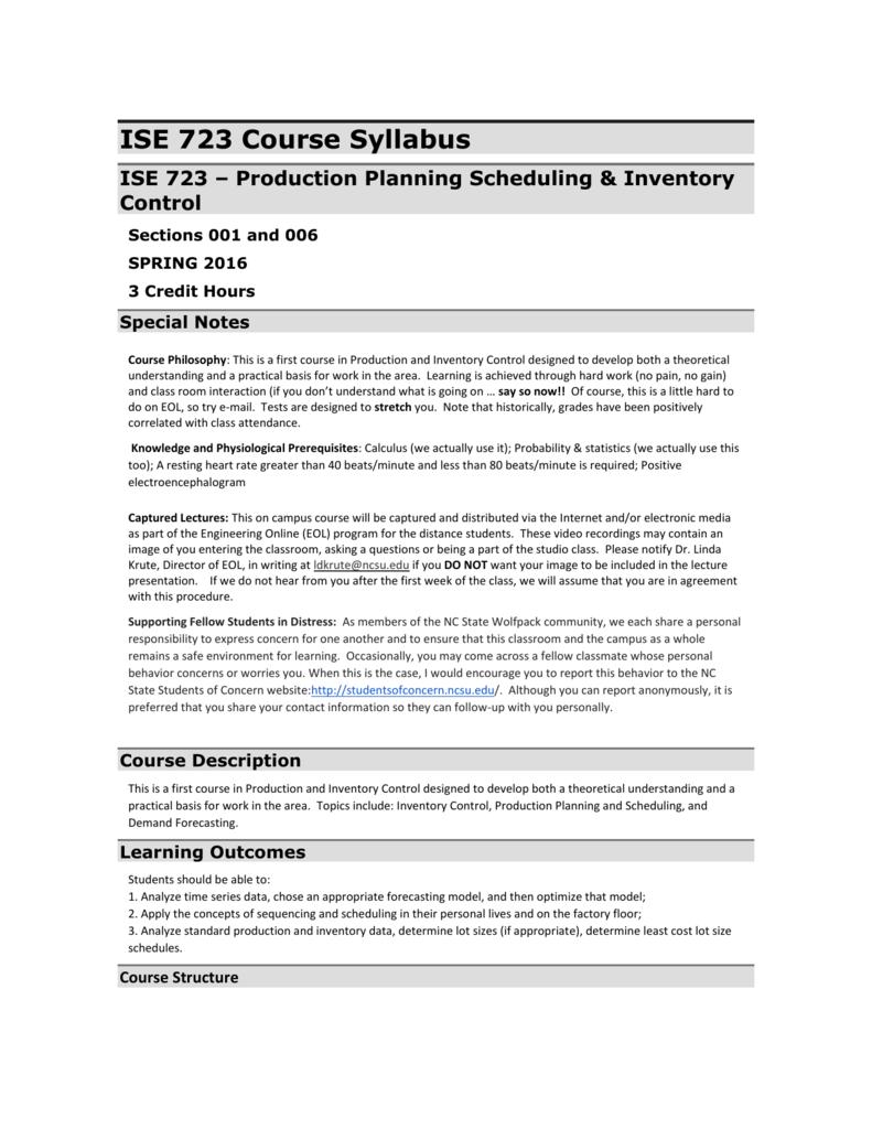 NCSU Course Syllabus: ISE 408 - 001