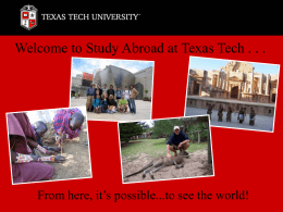Welcome to Study Abroad at Texas Tech