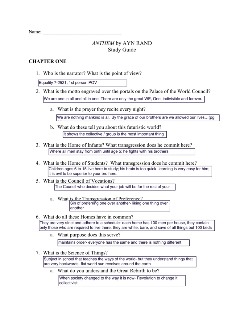 Anthem Study Guide With Answers