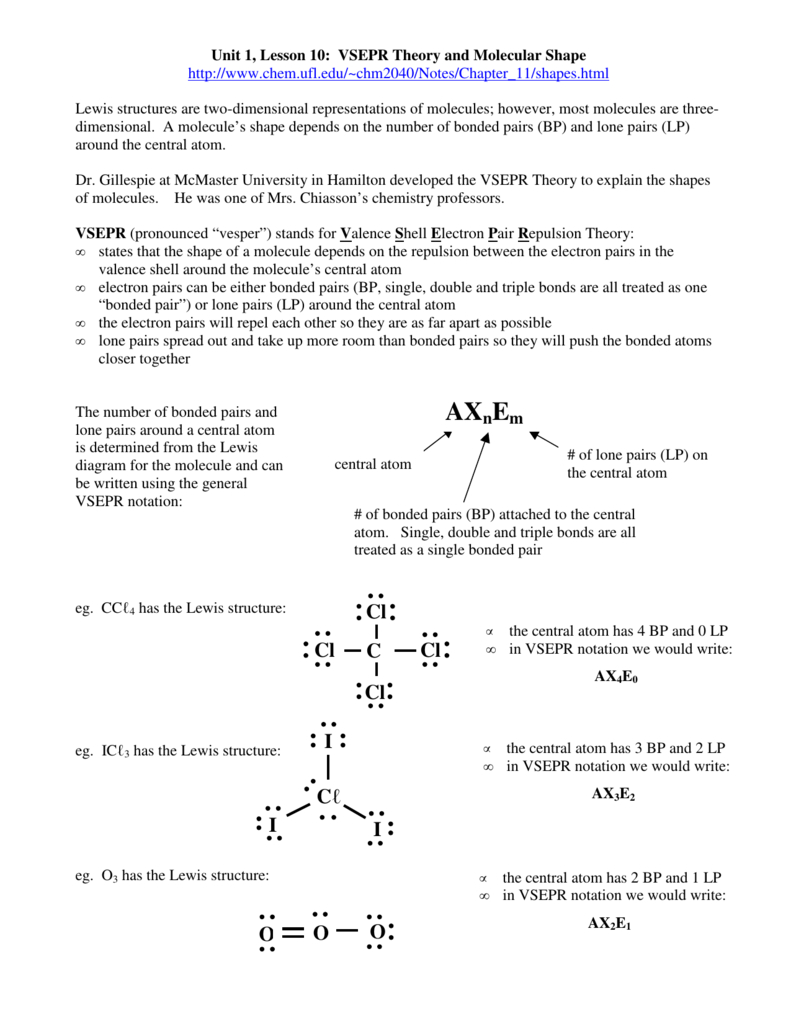 Unit 1 Lesson 10 VSEPR Theory and MolecularUnit 1 Lesson 10 – Vsepr Worksheet
